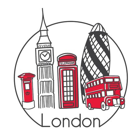 Vector illustration London, Great Britain in modern minimalist line style. Hand drawn doodle outline objects in circle frame. Big ben, telephone box, double decker bus, post box, famous skyscrapper.