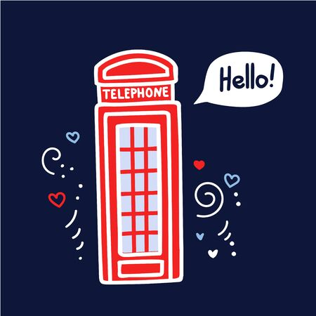 Vector illustration of a famous british symbol - a red telephone box in London with a speech bubble and doodle hearts, lines and swirles. Hand drawn element on dark blue background. Travel to the UK.