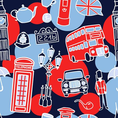Vector seamless pattern with famous London symbols. Hand drawn doodle elements in white, red and dark blue colors on dots and circles. Travel to the UK concept for background or print design.