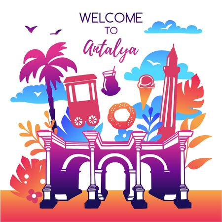 Vector illustration Welcome to Antalya, Turkey. Bright design with symbols of Antalya in modern flat style in colorful gradient. Travel card, poster, flier, print template for traveling and tourism.