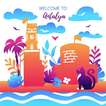 Vector illustration Welcome to Antalya, Turkey. Colorful card with turkish symbols in flat style in bright gradient colors. Modern travel design for poster, flier, print template for tourism.