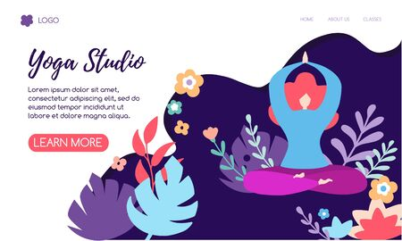 Vector illustration of yogi woman meditating in the Lotus pose. Cute flat female character and decorative plants, bright leaves and doodle flowers. Yoga classes horizontal website banner design. Ilustrace