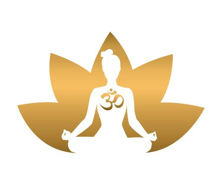 Vector yoga illustration in gold and white colors. Silhouette of a meditating woman, lotus flower and religious symbol Om. Golden gradient. Yoga icon for logo, poster, banner, flyer or card design. 向量圖像