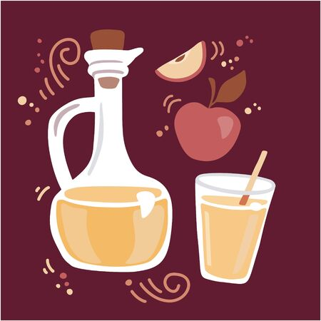 Modern vector illustration Apple cider vinegar. Pitcher with fermented vinegar, glass of a drink, and fresh fruits. Flat elements on dark brown background. Healthy eating and cooking theme. 向量圖像