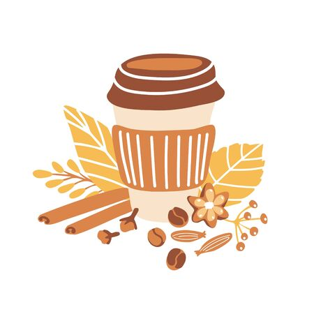 Trendy freehand vector illustration Autumn coffee. Cute doodle take away cup of hot beverage, spices, beautiful yellow and orange fall leaves. Seasonal card and poster design for cafe, menu, kitchen.