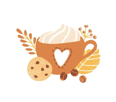 Cute vector illustration of a delicious beverage with whipped cream, crunchy chocolate cookie, and decorative leaves, plants and coffee beans. Autumn colors and trendy doodle flat style. Fall season.