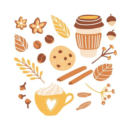 Set of cute vector clip art Autumn time mood. Collection of seasonal illustrations for Fall season with freehand doodle elements. Hot tasty drinks, chocolate cookies, spices and yellow leaves.