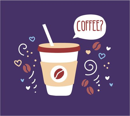 Modern vector illustration of a paper take away coffee cup with a straw and a speech bubble on a dark violet background with doodle swirls, beans, hearts and dots. Cafe card, poster, flyer design. 向量圖像