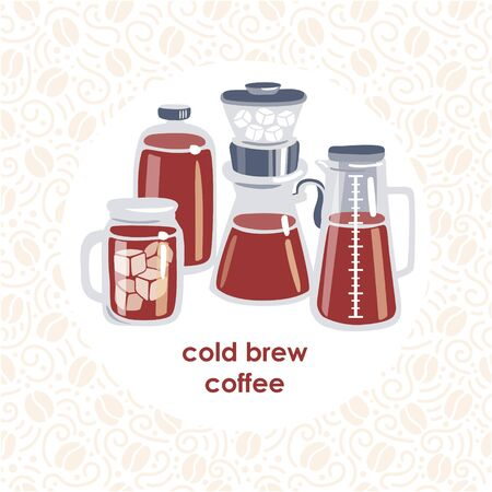 Vector illustration of a cold brew coffee. Set of tall pot, bottle, coffee making dripper and cup with iced drink. Modern flat illustration with circle composition and seamless pattern on background. Stock Illustratie