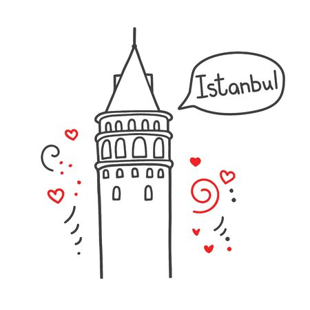 Vector line illustration of a Turkish landmark Galata Tower in Istanbul, Turkey. Doodle outline landmark with a speech bubble, cute dots and hearts in dark gray and red colors. Travel card design.