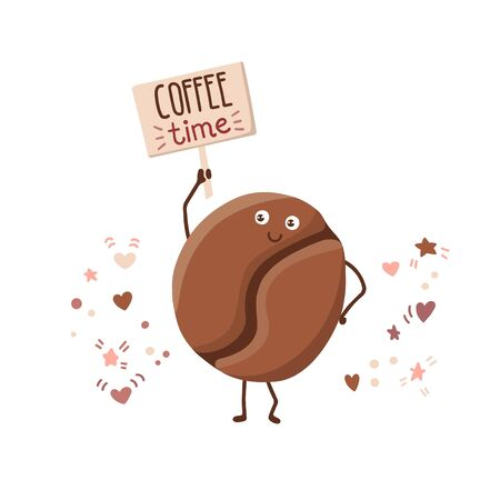Vector kawaii illustration of a cute coffee bean with a wooden plate and hand written phrase Coffee time. Cute smiling character in the flat style with doodle hearts, stars, dots. Card, poster design.