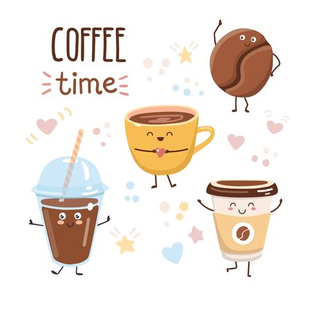 Vector illustration Coffee time. Set of cute characters in kawaii style. Plastic and paper take away cups, coffee bean and yellow mug isolated on white background with lovely doodle hearts and stars. 向量圖像
