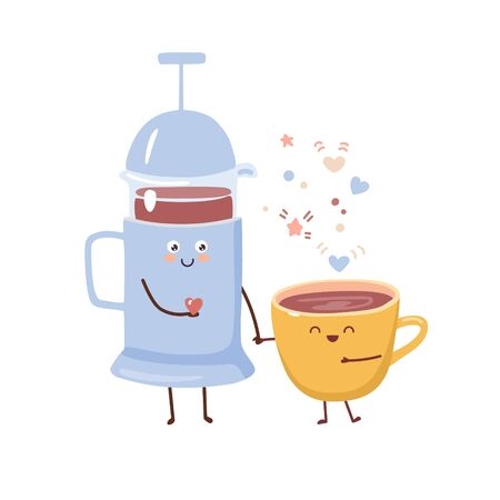 Vector illustration of a cute couple: a French press pot and a cup of hot beverage. Tea or coffee cartoon characters in kawaii style. Trendy flat illustration for card, poster design. 向量圖像