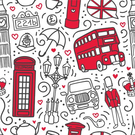 Vector seamless pattern London, Great Britain. Hand drawn doodle symbols of the UK capital in dark gray outline and bright red color blocks. Endless background for print, wallpaper, textile design.