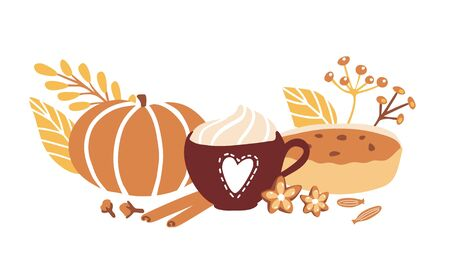 Cute vector illustration Fall season with doodle objects on white background. Cup with hot beverage, whipped cream, spices, leaves, pumpkin and home made pie. Horizontal card, banner, poster design.