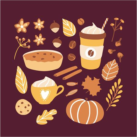 Vector illustration Autumn season. Set of doodle elements on Fall theme: pie, cookie, nuts, warm delicious beverages, spices, herbs and yellow, orange leaves. Collection of flat objects. 向量圖像