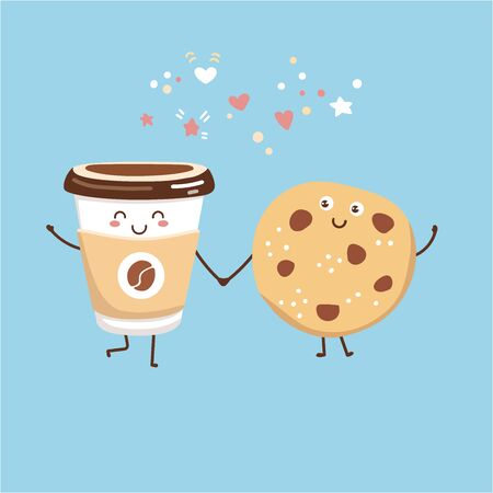 Cute vector illustration of a take away coffee cup and a chocolate cookie. Kawaii food characters. Smiling hot beverage and tasty snack. Card, poster, print design for cafe, restaurant, cafeteria.