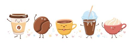 Set of cute coffee characters in trendy kawaii style. Take away cups, mugs and bean with hot beverage. Happy cartoon drinks with doodle stars and hearts. Banner, card, poster design.