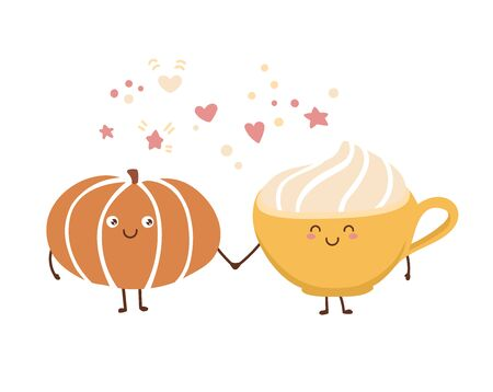 Cute vector illustration Pumpkin spice latte in kawaii style. Autumn vegetable hot beverage with whipped cream. Lovely smiling and blinking characters for Fall coffee card design.