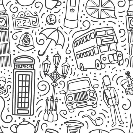 Vector seamless pattern with symbols of London, Great Britain. Hand drawn doodle outline on white background. Endless background for travel and tourism print, wallpaper, textile design.