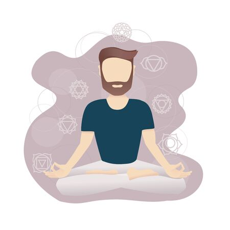 Vector illustration of a meditating man sitting in the Lotus position. Background with Chakra symbols. Modern picture in the flat style with soft gradients. Yoga and meditation card design.