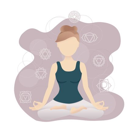 Vector illustration of a meditating woman sitting in the Lotus position with Chakra symbols. Yoga and meditation card design. Trendy picture in the flat style with soft gradients.