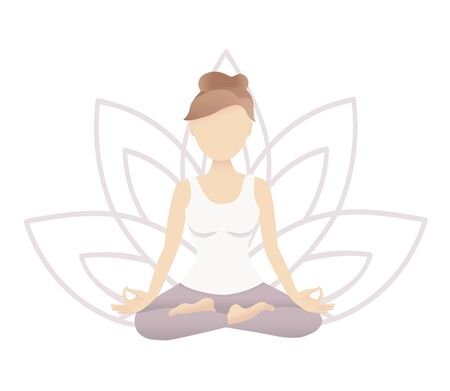 Vector illustration of a meditating woman sitting in the Padmasana position with a lotus flower behind. Yoga and meditation card design. Trendy picture in the flat style with soft gradients. Stock Illustratie