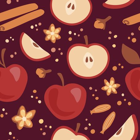 Vector seamless pattern with ripe apples, spices and decorative dots. Endless background on Fall season. Autumn warm red, brown, orange colors. Wrapping paper, print, backdrop design.