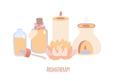 Vector illustration Aromatherapy with candle, lotus flower, incense burner and bottles with essential oils. Wellness and body care card design. Modern hand drawn flat style. Stock Illustratie