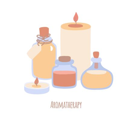 Vector illustration Aromatherapy with candles and bottles with essential oils. Spa, wellness and body care composition in desaturated colors for card, banner, flier design. Modern flat style.