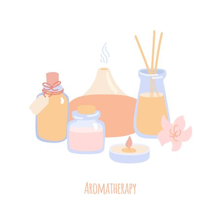 Vector illustration Aromatherapy with essential oil bottles, aroma diffusor and candle. Hand drawn flat illustration on spa, alternative medicine or Ayurveda topic. Body care card design.