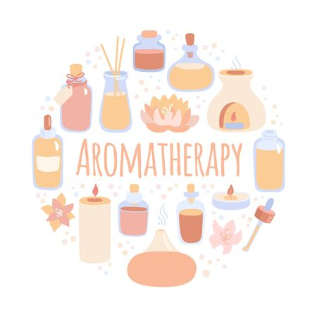 Vector illustration Aromatherapy. Cute doodle aroma lamps, essential oil bottles and candles. Hand drawn flat elements in circle composition. Ayurveda, spa, wellness and body care card design.