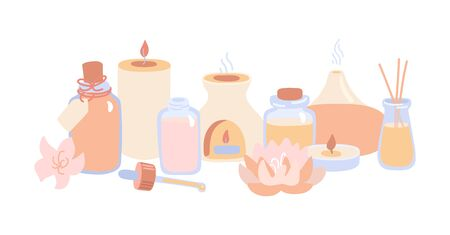 Horizontal vector illustration Aromatherapy. Doodle aroma lamps, essential oil bottles and candles. Hand drawn flat elements isolated on white. Ayurveda, spa, wellness and body care banner design.