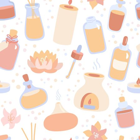 Vector seamless pattern Aromatherapy. Hand drawn doodle candles, aroma lamps and essential oil bottles on white background. Backdrop in trendy flat style. Spa, wellness, Ayurveda and body care concept