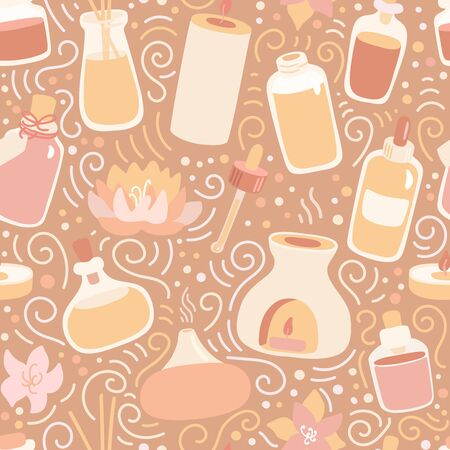 Vector seamless pattern Aromatherapy. Hand drawn doodle candles, aroma lamps and essential oil bottles on beige in modern flat style. Spa, wellness, Ayurveda and body care background design.