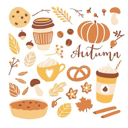 Big set of vector clip art Autumn. Fall season illustration in flat style. Hand drawn leaves, coffee cups, pumpkin, cookies and spices. Collection of cute simple elements.
