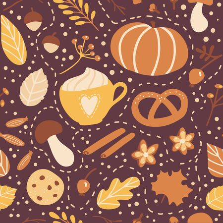 Vector seamless pattern Fall season. Cute hand drawn symbol of Autumn. Pumpkin, cookie, pie, spices and tasty hot beverages. Seasonal backdrop, wallpaper, textile print design.