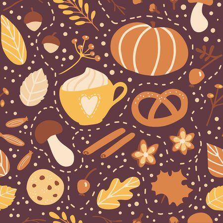Vektor nahtlose Muster Herbstsaison. Nettes handgezeichnetes Symbol des Herbstes. Kürbis, Keks, Kuchen, Gewürze und leckere Heißgetränke. Saisonale Kulisse, Tapete, Textildruckdesign.
