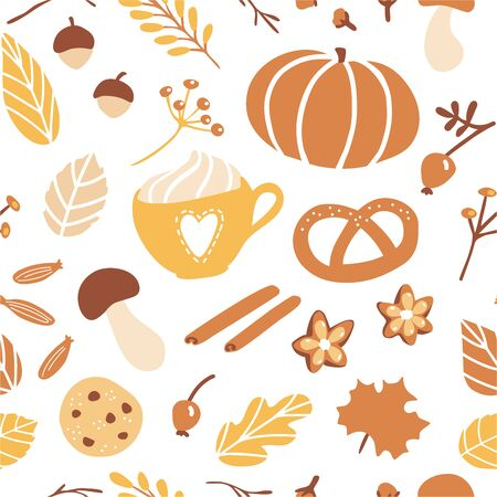 Vector seamless pattern Fall season. Cute hand drawn symbol of Autumn on white background. Pumpkin, cookie, pie, spices and tasty hot beverages. Seasonal backdrop, wallpaper, textile print design. Stock Illustratie