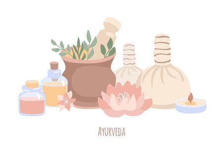 Vektorillustration Ayurveda im trendigen flachen Stil und entsättigten Farben. Handgezeichnete Elemente der Ayurveda-Massage isoliert auf weiss. Wellness, Aromatherapie, Körperpflegekonzept.