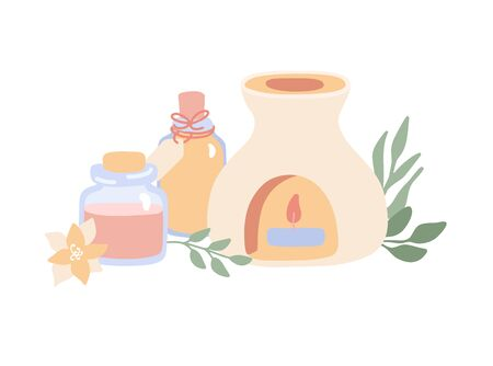 Vector illustration Aromatherapy with incense burner, essential oil bottles, flower and herbs. Wellness, spa, Ayurveda and body care card design. Modern hand drawn flat style.