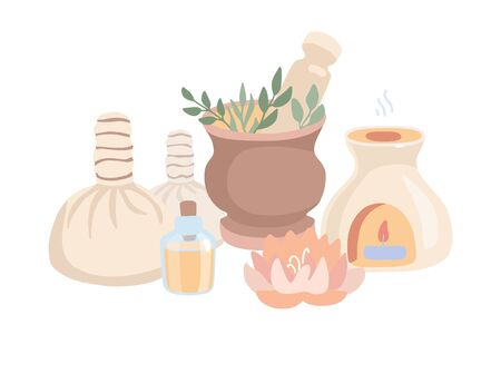 Vector illustration Ayurveda in trendy flat style and desaturated colors. Wellness, aromatherapy, body care composition. Set of doodle elements on Ayurvedic massage isolated on white background. Stockfoto - 136255176