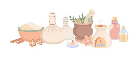 Vector illustration Ayurveda in flat style. Set of hand drawn elements for Ayurvedic massage and Aromatherapy. Horizontal banner and background design on Spa, Wellness, Body Care theme. Stockfoto - 136255178
