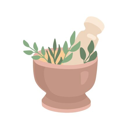 Vector illustration Mortar and Pestle with green herbs and leaves. Trendy flat object isolated on white background. Ayurveda, SPA, alternative medicine element. Ilustração