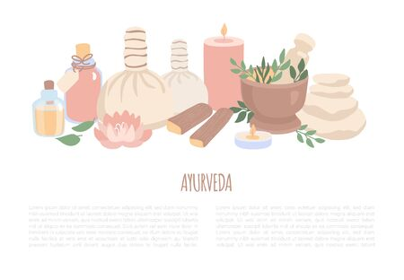 Vector illustration Ayurveda in trendy flat style. Set of elements for Ayurvedic massage and Aromatherapy. Horizontal banner and flyer design with place for your text on Spa, Wellness, Body Care theme Stockfoto - 136255189