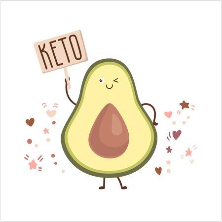 A blinking avocado with Keto on white