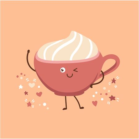 Cute vector illustration of a pink cup with delicious hot beverage with whipped cream. Lovely smiling and blinking character in the trendy kawaii style. Coffee, tea and cocoa design. Stockfoto - 136255633
