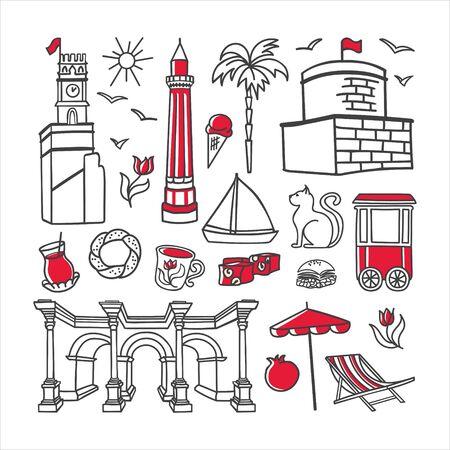 Vector illustration Symbols of Antalya, Turkey. Big set of hand drawn doodle elements isolated on white. Clock Tower, Minaret, Hadrains gate and other famous Turkish landmarks for touristic design. Stock Illustratie