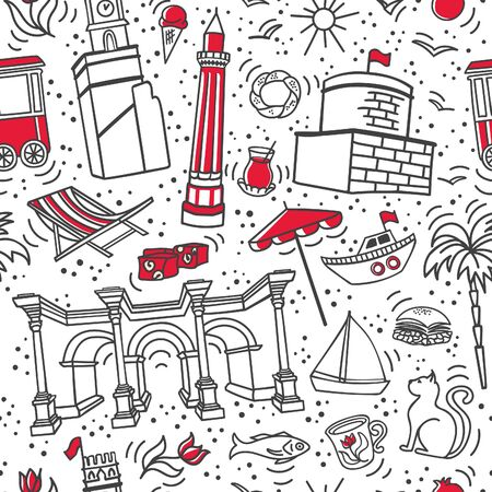 Vector seamless pattern Symbols of Antalya, Turkey. Touristic landmarks and famous buildings of Turkish resort. Cute doodles on white background. Modern line design for print, backdrop, wrapping paper Stock Illustratie