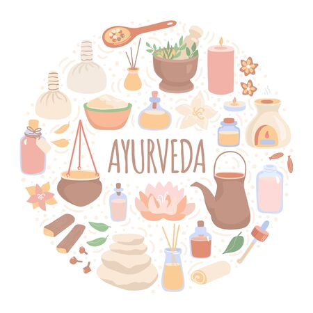 Vector illustration Ayurveda in the round composition. Ayurvedic massage objects in the circle frame. Card, banner, flier design in modern flat style for SPA salons and Shirodhara treatment. Stock Illustratie